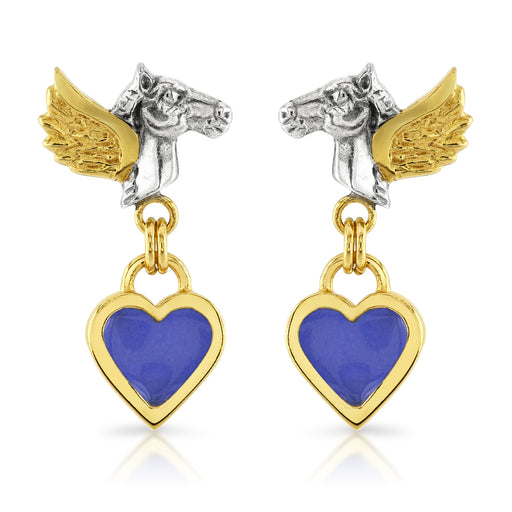 Pegasus Prussian Blue Heart Drop Earrings
