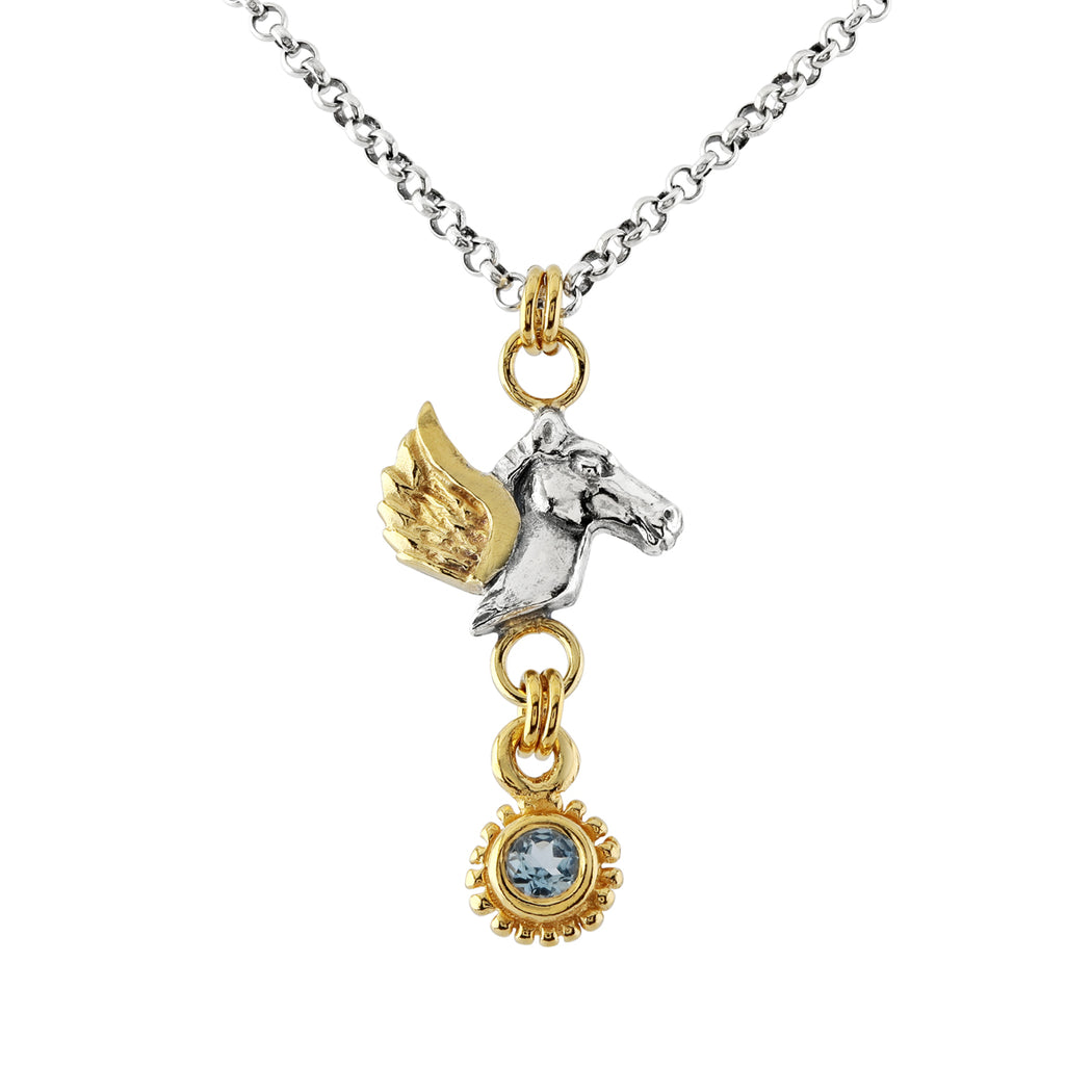 Pegasus Aquamarine Drop Necklace