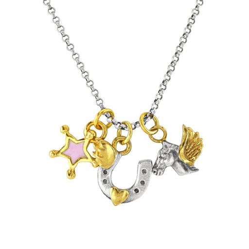 Pegasus Charm Cluster Necklace
