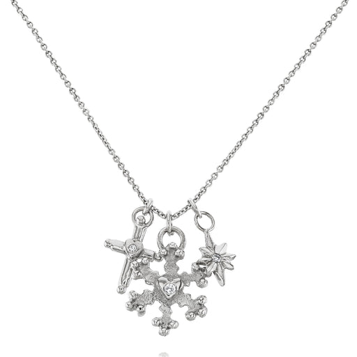 Gold & Diamond Snowflake Curio Necklace