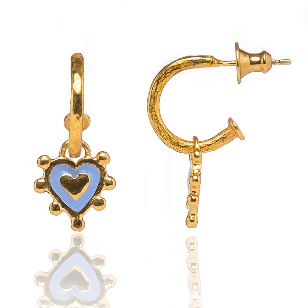 Cornflower Blue Sacred Heart Earrings