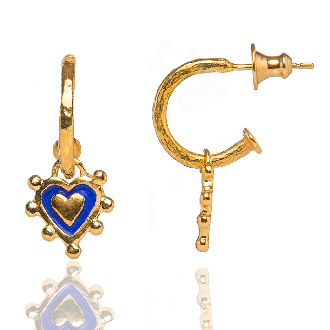 Prussian Blue Sacred Heart Earrings