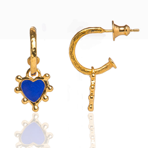 Prussian Blue Boho Heart Earrings