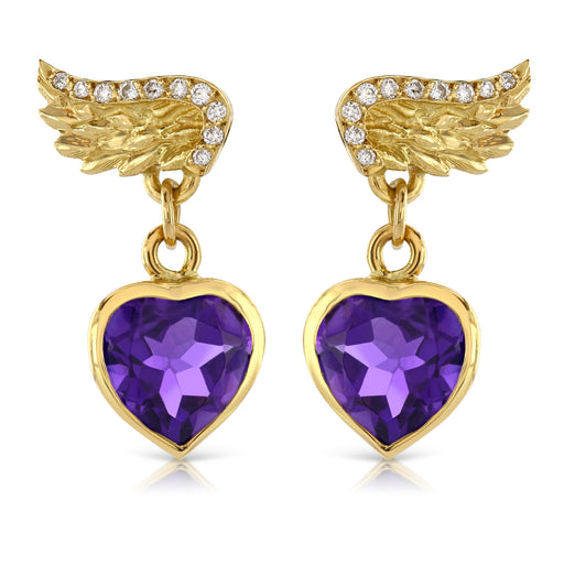 Venetian Wing & Amethyst Heart Drop Earrings