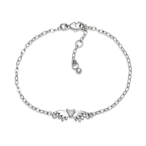 White Gold Classic Winged Heart Bracelet