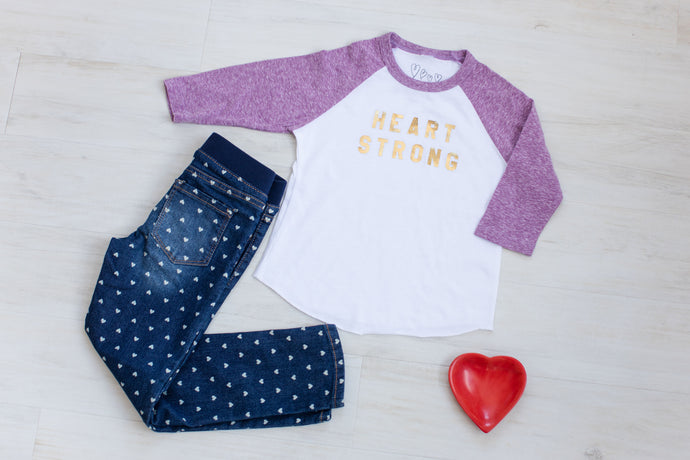 Toddler Metallic Heart Strong Raglan