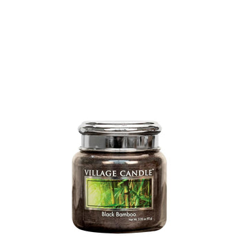 Black Bamboo Petite Glass Jar Metal Lid