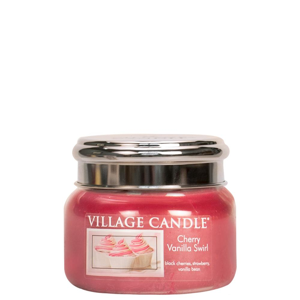 Cherry Vanilla Swirl Small Glass Jar Traditions Scented Candle