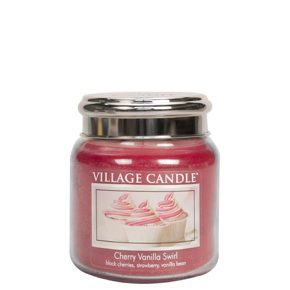 Cherry Vanilla Swirl Medium Glass Jar Traditions Scented Candle