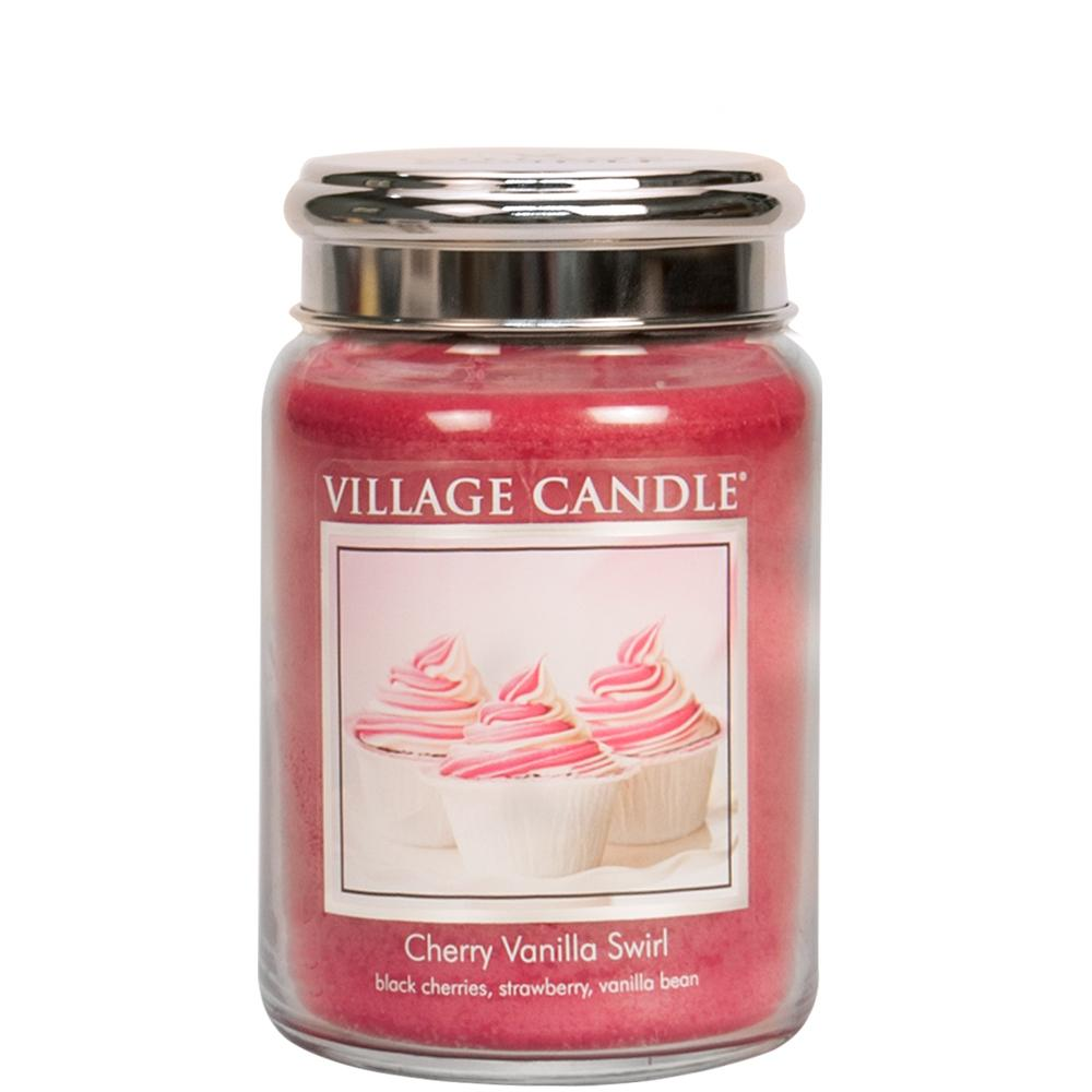 Cherry Vanilla Swirl Large Glass Jar Traditions Scented Candle