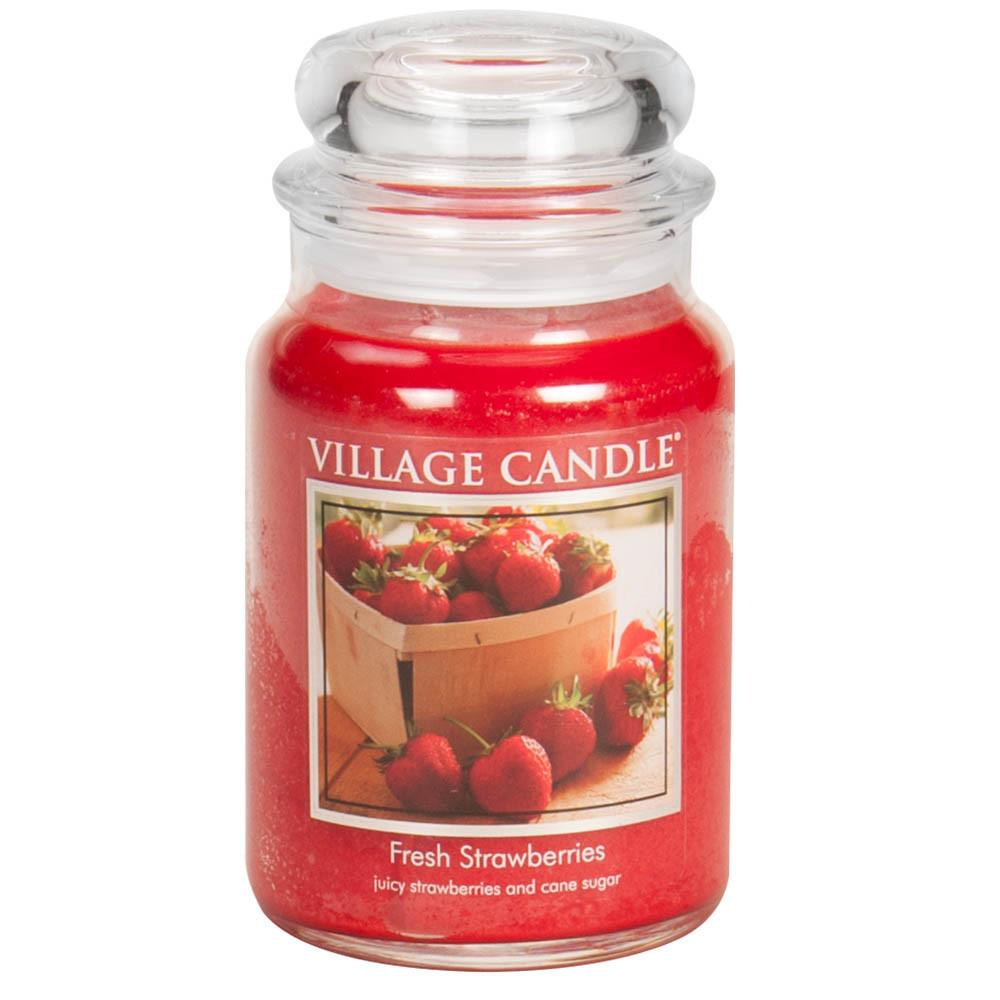 Fresh Strawberries Large Glass Jar Traditions Scented Candle