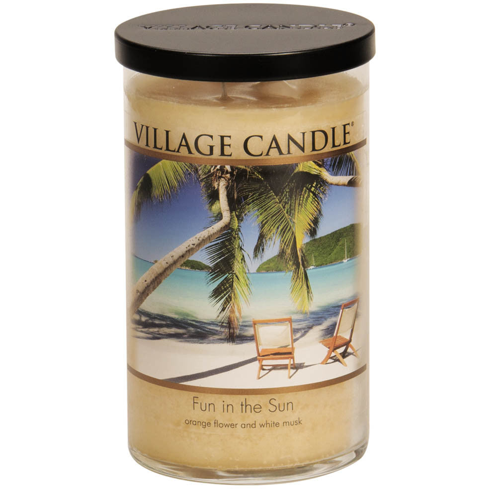 Village Candle Fun In The Sun 24 oz Large Tumbler Scented Two Wick Jar Candle