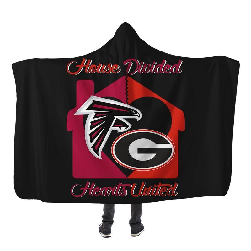 Football - AF AND GB HOUSE DIVIDED HOODED SHERPA BLANKET