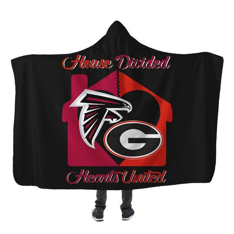 Image of Football - AF AND GB HOUSE DIVIDED HOODED SHERPA BLANKET