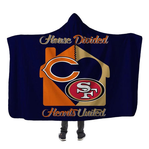 Image of Football - CB AND SF HOUSE DIVIDED HOODED SHERPA BLANKET