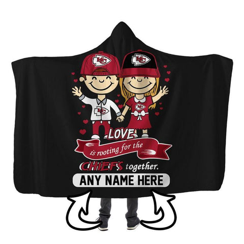 Image of Football - KCC LOVE IS PERSONALIZED SHERPA BLANKET