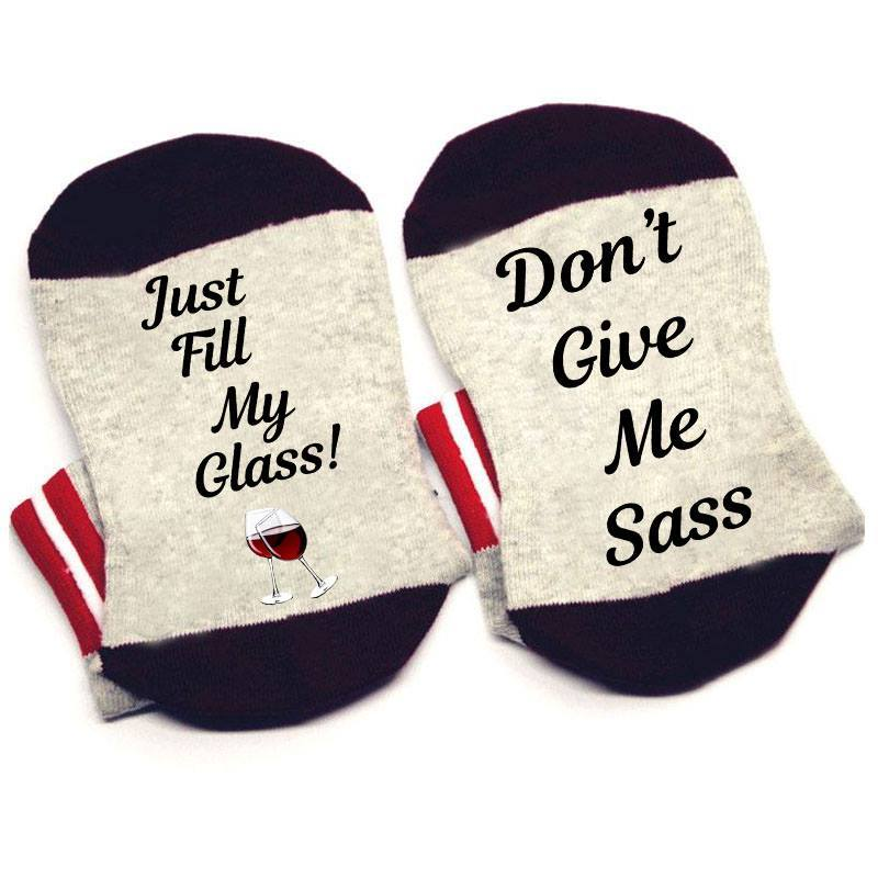 JUST FILL MY GLASS WORD SOCKS