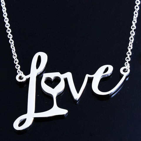 Image of Love Wine Heart Pendant Necklace