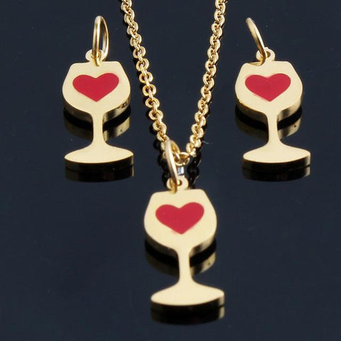 Image of Love Wine Necklace & Earrings Set