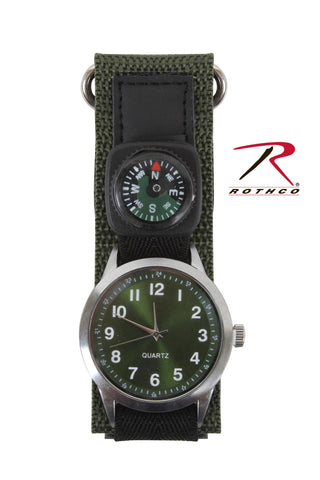 Rothco Wrist Watch With Compass-Olive Drab