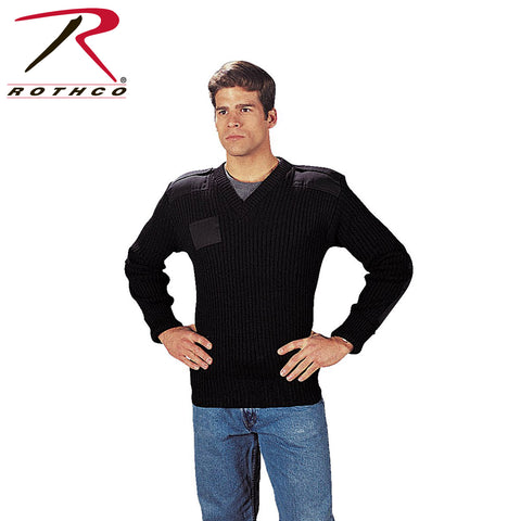 Rothco G.I. Type Black Wool V-Neck Sweater