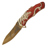 MASTERS COLLECTION SPRING ASSISTED DRAGON DESIGN KNIFE BY MASTER USA