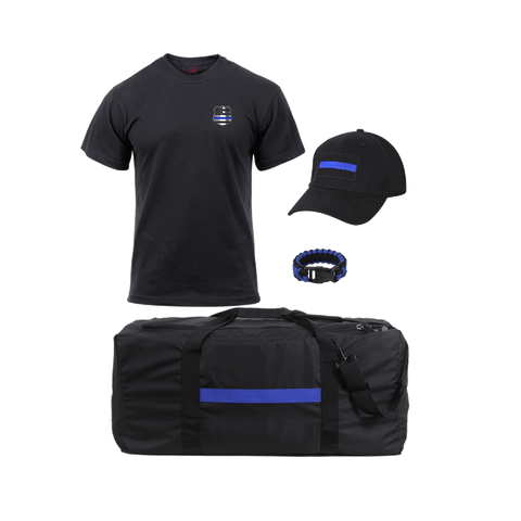 Thin Blue Line T-shirt Gear Bag Bracelet and Cap Bundle