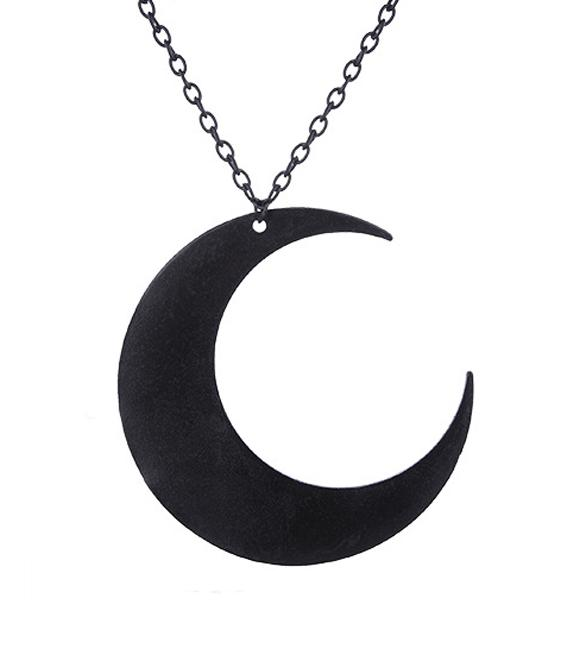 Crescent Moon Necklace (Black)