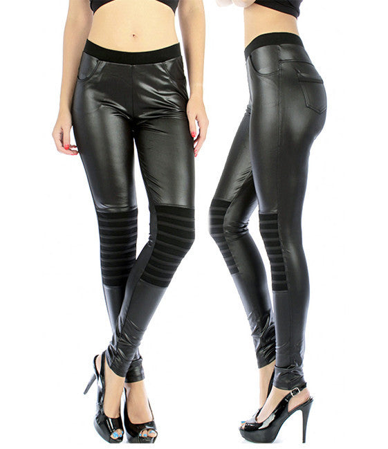 Cotton Riding Faux Leather Liquid Leggings