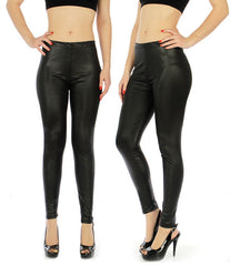 Shiny Solid Black Liquid Leggings