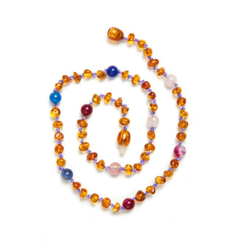 Anna -  Honey Amber & Gemstone Anklet / Bracelet / Necklace