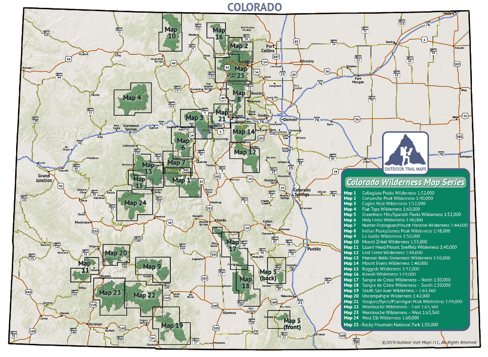 Colorado Wilderness Map Series Coverage Map