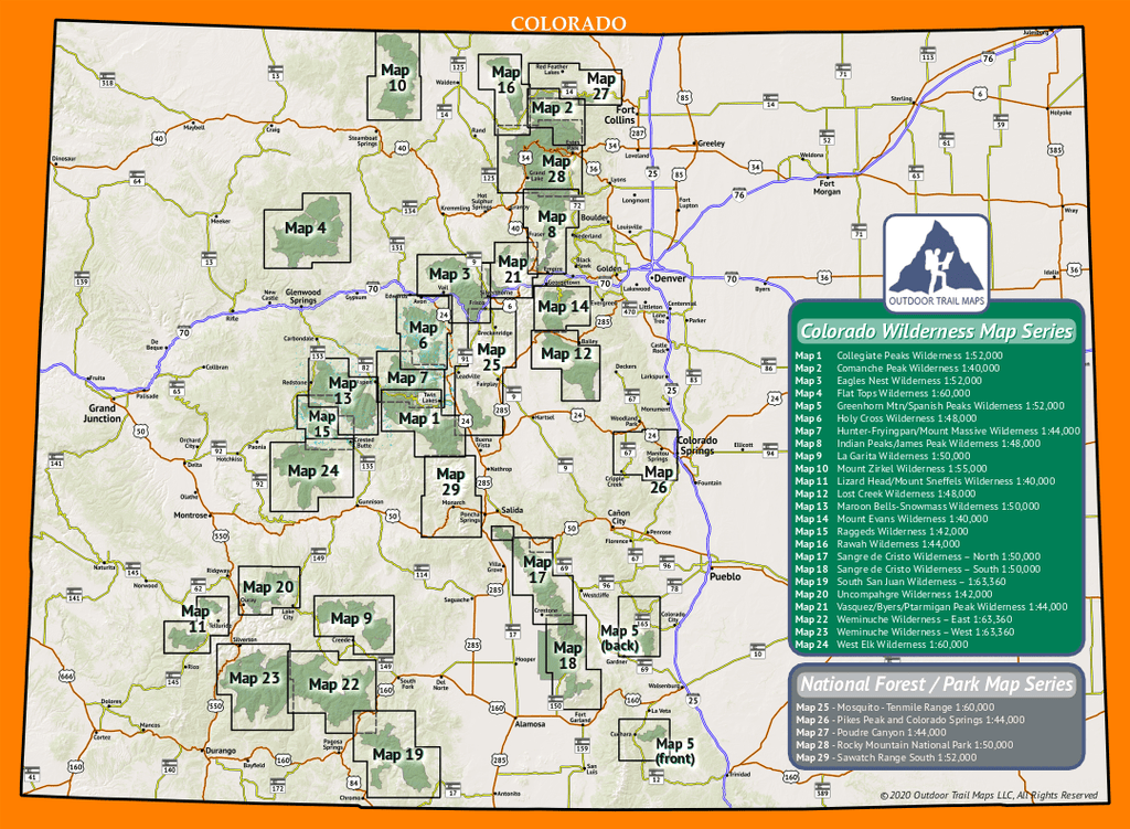 The Colorado Wilderness and Colorado National Parks / National Forest Map Series