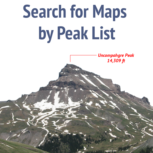 Search 14ers Maps by Peak List