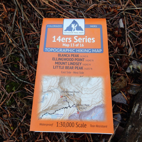 14ers Map 13 of 16: Blanca, Ellingwood, Lindsey, Little Bear