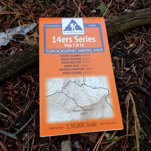 14ers Map 7 of 16: Columbia, Harvard | Belford, Huron, Missouri, Oxford