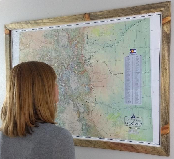 Hikers Map of Colorado - Framed
