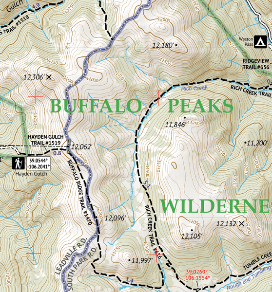 Mosquito Range - Tenmile Range Topographic Hiking Map