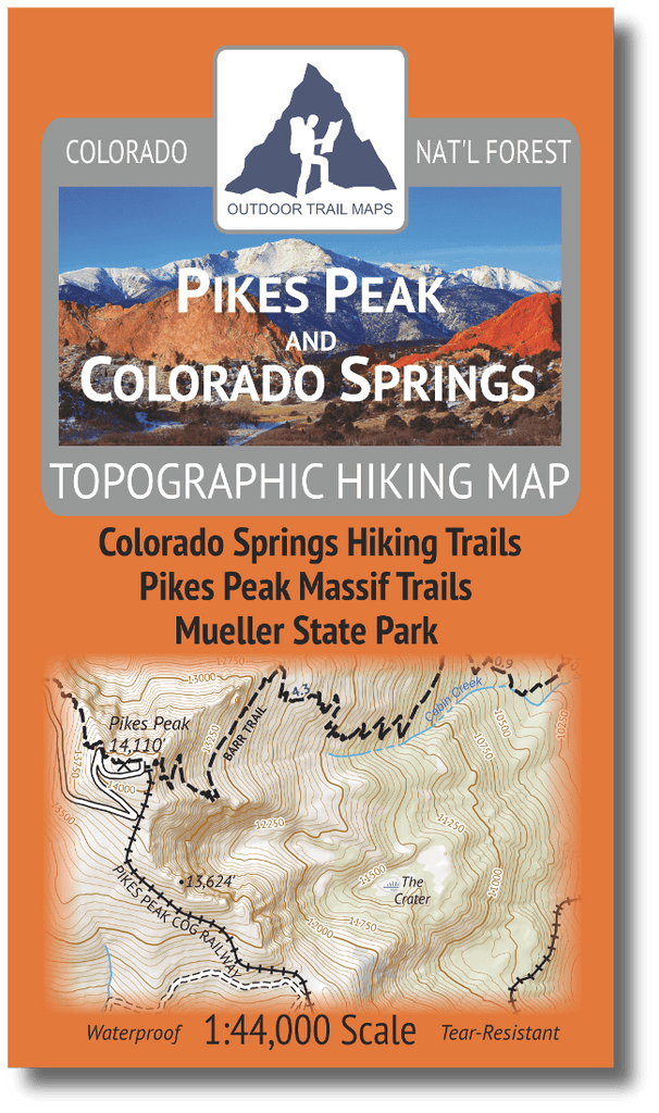Pikes Peak and Colorado Springs Topographic Hiking Map