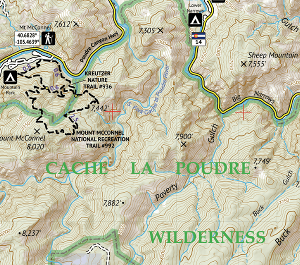 Poudre Canyon Topographic Hiking Map
