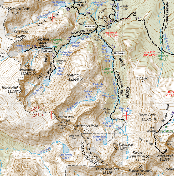 Rocky Mountain National Park - Topograhic Hiking Map - Colorado ...