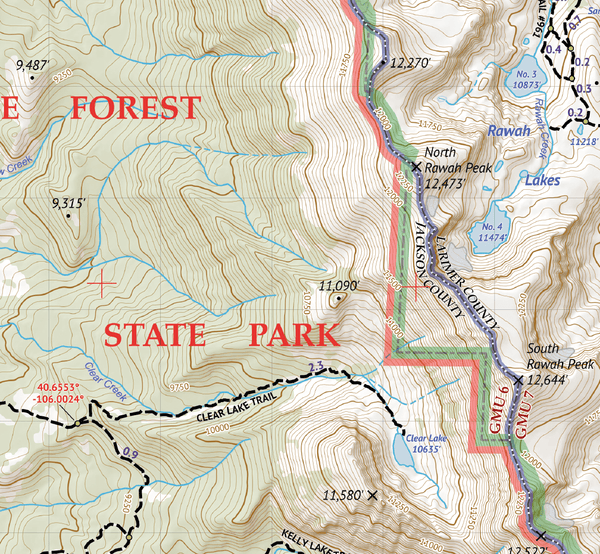 Rawah Wilderness State Forest State Park Map