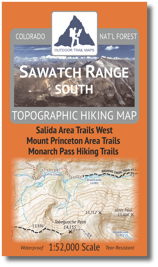 Sawatch Range South Topographic Hiking Map