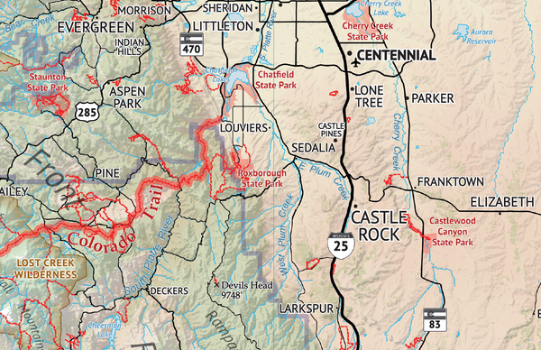 The Hiker's Map of Colorado - Castle Rock Area