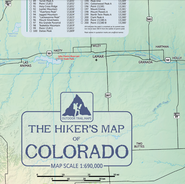 (Laminated) The Hikers Map of Colorado - Wall Poster Map