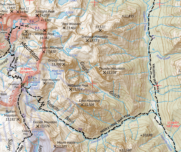 Weminuche Wilderness West Map Crop