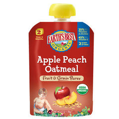 EARTH'S BEST ORGANIC APPLE PEACH OATMEAL FRUIT & GRAIN PUREE BABY FOOD