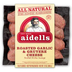 AIDELLS ALL NATURAL ROASTED GARLIC & GRUYERE CHEESE SMOKED  CHICKEN SAUSAGE
