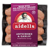 AIDELLS ARTICHOKE & GARLIC SMOKED CHICKEN SAUSAGE