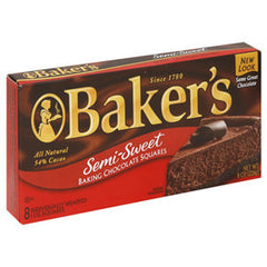 BAKER'S SEMI SWEET BAKING CHOCOLATE BAR